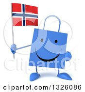 Clipart Of A 3d Happy Blue Shopping Or Gift Bag Character Holding And Pointing To A Norwegian Flag Royalty Free Illustration