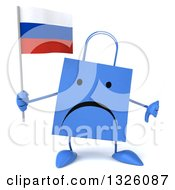 Clipart Of A 3d Unhappy Blue Shopping Or Gift Bag Character Giving A Thumb Down And Holding A Russian Flag Royalty Free Illustration