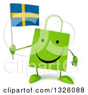 Clipart Of A 3d Happy Green Shopping Or Gift Bag Character Holding A Swedish Flag Royalty Free Illustration