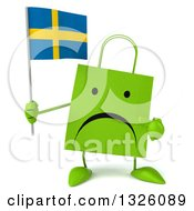Clipart Of A 3d Unhappy Green Shopping Or Gift Bag Character Holding And Pointing To A Swedish Flag Royalty Free Illustration