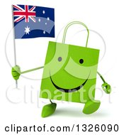 Clipart Of A 3d Happy Green Shopping Or Gift Bag Character Walking And Holding An Australian Flag Royalty Free Illustration