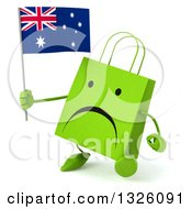 Clipart Of A 3d Unhappy Green Shopping Or Gift Bag Character Walking Slightly Left And Holding An Australian Flag Royalty Free Illustration