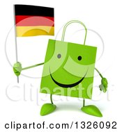 Clipart Of A 3d Happy Green Shopping Or Gift Bag Character Holding A German Flag Royalty Free Illustration