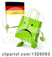Clipart Of A 3d Unhappy Green Shopping Or Gift Bag Character Walking Slightly Left And Holding A German Flag Royalty Free Illustration