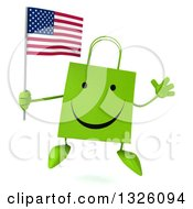 Clipart Of A 3d Happy Green Shopping Or Gift Bag Character Holding An American Flag And Jumping Royalty Free Illustration