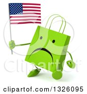 Clipart Of A 3d Unhappy Green Shopping Or Gift Bag Character Walking And Holding An American Flag Royalty Free Illustration