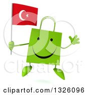 Clipart Of A 3d Happy Green Shopping Or Gift Bag Character Holding A Turkish Flag And Jumping Royalty Free Illustration