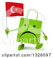 Clipart Of A 3d Unhappy Green Shopping Or Gift Bag Character Walking And Holding A Turkish Flag Royalty Free Illustration