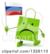 Clipart Of A 3d Unappy Green Shopping Or Gift Bag Character Walking And Holding A Russian Flag Royalty Free Illustration by Julos