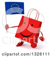 Clipart Of A 3d Happy Red Shopping Or Gift Bag Character Walking Slightly Left And Holding A European Flag Royalty Free Illustration