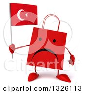 Clipart Of A 3d Unhappy Red Shopping Or Gift Bag Character Holding A Turkish Flag Royalty Free Illustration