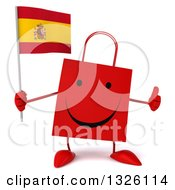 Clipart Of A 3d Happy Red Shopping Or Gift Bag Character Holding A Spanish Flag And Giving A Thumb Up Royalty Free Illustration