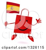 Clipart Of A 3d Happy Red Shopping Or Gift Bag Character Holding A Spanish Flag And Jumping Royalty Free Illustration