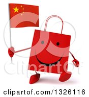 Clipart Of A 3d Happy Red Shopping Or Gift Bag Character Walking And Holding A Chinese Flag Royalty Free Illustration