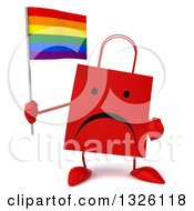 Clipart Of A 3d Unhappy Red Shopping Or Gift Bag Character Holding And Pointing To A Rainbow Flag Royalty Free Illustration