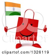 Clipart Of A 3d Happy Red Shopping Or Gift Bag Character Holding An Indian Flag And Giving A Thumb Up Royalty Free Illustration