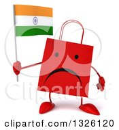 Clipart Of A 3d Unhappy Red Shopping Or Gift Bag Character Holding An Indian Flag Royalty Free Illustration