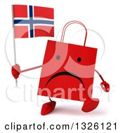 Clipart Of A 3d Unhappy Red Shopping Or Gift Bag Character Walking And Holding A Norwegian Flag Royalty Free Illustration