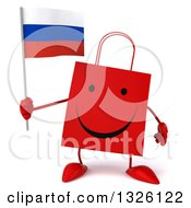 Clipart Of A 3d Happy Red Shopping Or Gift Bag Character Holding A Russian Flag Royalty Free Illustration