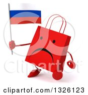 Clipart Of A 3d Unhappy Red Shopping Or Gift Bag Character Walking Slightly Left And Holding A Russian Flag Royalty Free Illustration