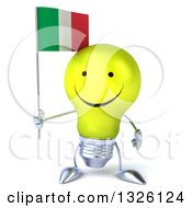 Clipart Of A 3d Happy Yellow Light Bulb Character Holding An Italian Flag Royalty Free Illustration