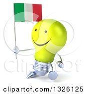 Clipart Of A 3d Happy Yellow Light Bulb Character Walking To The Left And Holding An Italian Flag Royalty Free Illustration