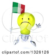 Clipart Of A 3d Unhappy Yellow Light Bulb Character Jumping And Holding An Italian Flag Royalty Free Illustration