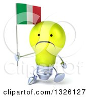 Clipart Of A 3d Unhappy Yellow Light Bulb Character Walking And Holding An Italian Flag Royalty Free Illustration
