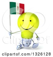 Clipart Of A 3d Happy Yellow Light Bulb Character Walking And Holding A Mexican Flag Royalty Free Illustration