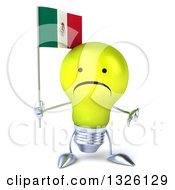 Clipart Of A 3d Unhappy Yellow Light Bulb Character Holding A Mexican Flag And Giving A Thumb Down Royalty Free Illustration