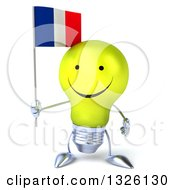 Clipart Of A 3d Happy Yellow Light Bulb Character Holding A French Flag Royalty Free Illustration