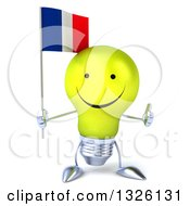 Clipart Of A 3d Happy Yellow Light Bulb Character Holding A French Flag And Giving A Thumb Up Royalty Free Illustration