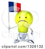 Clipart Of A 3d Unhappy Yellow Light Bulb Character Holding A French Flag Royalty Free Illustration