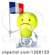 Clipart Of A 3d Unhappy Yellow Light Bulb Character Walking And Holding A French Flag Royalty Free Illustration
