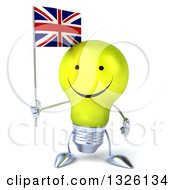 Clipart Of A 3d Happy Yellow Light Bulb Character Holding A British Union Jack Flag Royalty Free Illustration