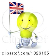 Clipart Of A 3d Happy Yellow Light Bulb Character Walking And Holding A British Union Jack Flag Royalty Free Illustration