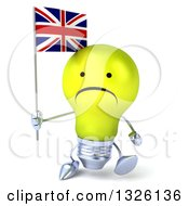 Clipart Of A 3d Unhappy Yellow Light Bulb Character Walking And Holding A British Union Jack Flag Royalty Free Illustration