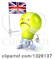 Clipart Of A 3d Unhappy Yellow Light Bulb Character Walking Slightly Left And Holding A British Union Jack Flag Royalty Free Illustration