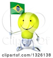 Clipart Of A 3d Happy Yellow Light Bulb Character Holding A Brazilian Flag Royalty Free Illustration