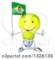 Clipart Of A 3d Happy Yellow Light Bulb Character Holding A Brazilian Flag And Giving A Thumb Up Royalty Free Illustration