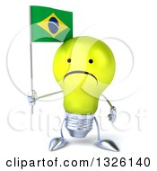 Clipart Of A 3d Unhappy Yellow Light Bulb Character Holding A Brazilian Flag Royalty Free Illustration