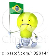Clipart Of A 3d Unhappy Yellow Light Bulb Character Walking And Holding A Brazilian Flag Royalty Free Illustration