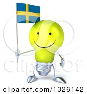 Clipart Of A 3d Happy Yellow Light Bulb Character Holding A Swedish Flag Royalty Free Illustration
