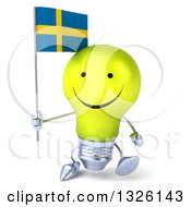 Clipart Of A 3d Happy Yellow Light Bulb Character Walking And Holding A Swedish Flag Royalty Free Illustration