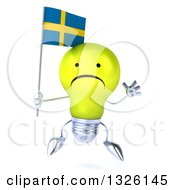 Clipart Of A 3d Unhappy Yellow Light Bulb Character Jumping And Holding A Swedish Flag Royalty Free Illustration