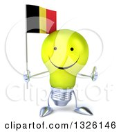Clipart Of A 3d Happy Yellow Light Bulb Character Holding A Belgian Flag And Giving A Thumb Up Royalty Free Illustration