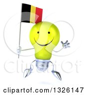 Clipart Of A 3d Happy Yellow Light Bulb Character Jumping And Holding A Belgian Flag Royalty Free Illustration