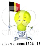 Clipart Of A 3d Unhappy Yellow Light Bulb Character Holding A Belgian Flag And Giving A Thumb Down Royalty Free Illustration