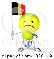 Clipart Of A 3d Unhappy Yellow Light Bulb Character Holding And Pointing To A Belgian Flag Royalty Free Illustration