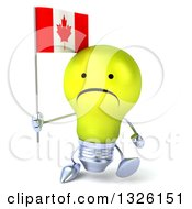 Clipart Of A 3d Unhappy Yellow Light Bulb Character Holding A Canadian Flag And Walking Royalty Free Illustration
